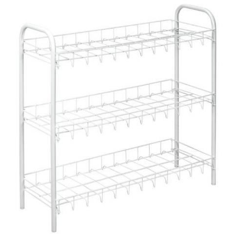 White Metal Large 3 Tier Shoe Storage Rack